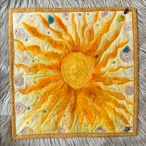 Sunshine ☀️ Mini quilt hand painted sun ☀️ decor